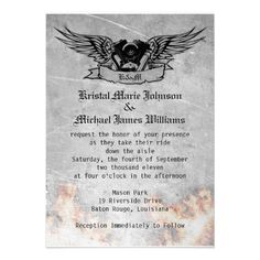 Flaming Biker Wedding Custom Invitation