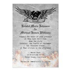 Flaming Biker Wedding Custom Invitation