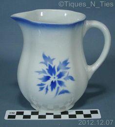 Vintage Arabia Finland Mid Century Blue Stencil Airbrush Scandinavian Flower