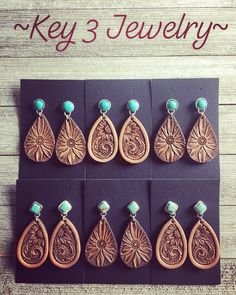 Earrings made by Key 3 Jewelry! Contact today to see what's available! 💕 Earrings made by Key 3 Jewelry! Contact today to see what's available! Leather Carving, Leather Art, Leather Gifts, Custom Leather, Tooled Leather Purse, Leather Tooling Patterns, Leather Pattern, Cute Jewelry, Jewelry Crafts
