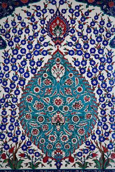 highly decorated ceramic Iznik tiles. Traditionally hand-crafted, each tile was designed by Turkish calligrapher Othman Agha.