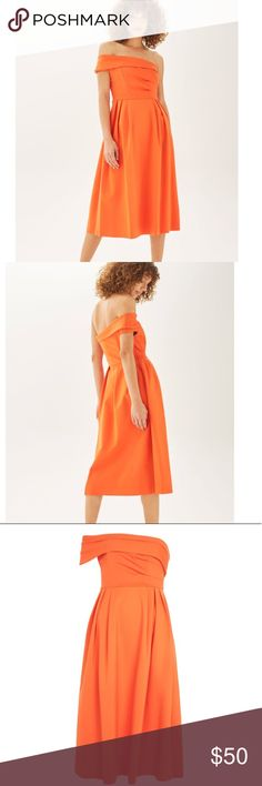 NWT Topshop Bardot One Shoulder Midi Dress, sz 6 NWT Topshop Bardot One Shoulder Midi Dress in an orange, thick, soft viscose-blend material with good weight and some stretch.  Features an unfinished, flared hem for movement. A perfect party dress! Brand new with tag. Size: US 6 (fits 2-4) Topshop Dresses Midi