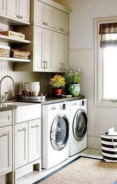 This laundry room features traditional elements like bead board and warm beige cabinets. Find other home design and interior decorating ideas, tips and inspiration on my blog: http://www.inspiredtostyle.com