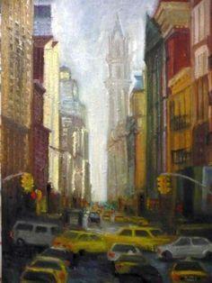 """""""Ingorgo a ny"""" @ STEFANIACAPPELLETTI.COM  Con curiosità e passione, Stefania Cappelletti si cimenta in qualsiasi genere. Ma è sorprendente quando rappresenta il fascino e il calore di una città difficile e frenetica come New York. Numerose tele a stesso soggetto, descrivono con approccio sicuro, colori caldi e con luci sapienti, tutti gli aspetti tipici di questa città. Grattacieli, taxi, insegne, per lei non stridono, ma diventano icone del possibile, anche in una città singolare come N.Y."""