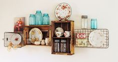 vintage crate shelves decorating diy cottage style home decor shelving ideas My intage soda crate and wire basket shelves - Basket And Crate - Wire Basket Shelves, Crate Shelves, Kitchen Shelves, Kitchen Display, Display Shelves, Diy Kitchen, Wire Shelves, Kitchen Storage, Display Ideas