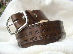 Custom Anniversary  lyric  message  Leather by leathermadenice, $95.00