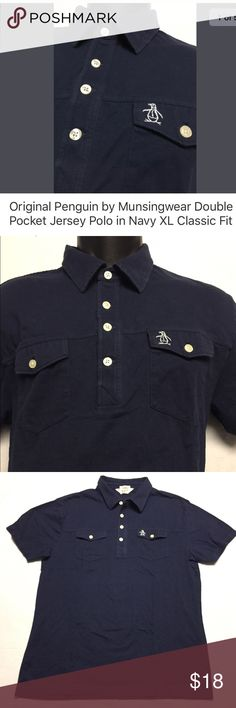 """Original Penguin Classic Fit Jersey Polo in Navy Men's Original Penguin by Munsingwear- Two Pocket Jersey Polo in Navy (Blue) as pictured. Excellent preowned condition - No holes, rips, damaged or missing buttons. Laundered, clean and ready to wear.  Size on tag: XL (PLEASE compare measurements with one of your own well fitting shirts to ensure proper fit) Measures approximately: 21"""" from armpit to armpit 29"""" from the bottom of the collar to the hem Original Penguin Shirts Polos"""