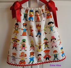 """Entre hilos: Tutorial: como hacer un """"pillowcase dress"""" another version Pillow Dress, Recycled Fabric, Stylish Kids, Diy Dress, Baby Girl Dresses, Baby Sewing, Refashion, Frocks, Blouses For Women"""