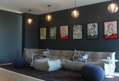 Togo sofa casual furniture and modern artwork Looks like my living room colour. Wouldn't have a white ceiling tho! Ruins the cave. Grey Walls Living Room, Living Room Modern, Living Room Designs, Living Room Decor, Living Rooms, Cozy Living, Living Area, Portfolio Design, Grey Wall Color