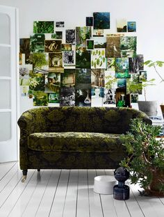 A shoot Tina Hellberg created Green Interiors with Idha Lindhag for Elle Interiör. so much great inspiration here. Fabulous collage. Green sofa.