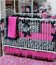 Zebra and hot pink baby room