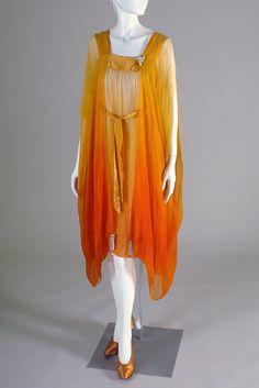 1920s Ombré silk chiffon nightgown with attached négligée, American, via KSUM.