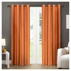 Chatra Faux Silk Grommet Top Window Curtain Panel Pair Spice - Exclusive Home™ Home Curtains, Grommet Curtains, Blackout Curtains, Window Curtains, Curtain Panels, Curtain Hardware, Exclusive Homes, My Living Room, Home Decor Outlet