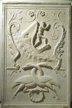 France, ML premier quart du XVIe siècle  Panneaux provenant de la décoration de la chapelle de Commynes Provenant de l'église des Grands-Augustins de Paris Pierre H. : 1,13 m. ; L. : 0,72 m. ; Pr. : 0,04 m.  Jonas rejeté par la baleine