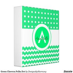 Green Chevron Polka Dot 3 Ring Binder