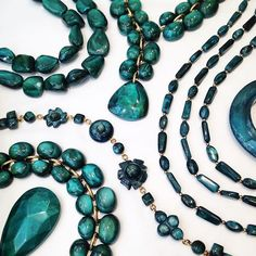 Our Ocean color new designs selection for FW 16-17 🌊 #renaissance collection #fw1617 #dominiquedenaive #paris #resin #handmade #hautefantaisie  #statementjewelry #jewellery #jewelry #luxury #costumejewellery  #darkgreen
