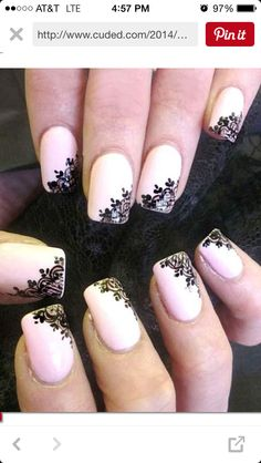 Lace patterns are inherently romantic and have a rich history. Take a look at these Fashionable Lace Nail Art Designs. Use your imagination to create your own lace nail art right now. Lace Nail Design, Lace Nail Art, Wedding Nails Design, Nail Art Designs, Wedding Manicure, Lace Art, Wedding Designs, White Lace Nails, Nail Black