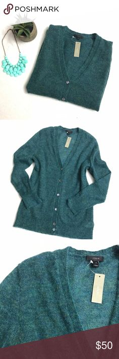 J. CREW Teal Mohair Cardigan Sweater J. CREW Teal Mohair Cardigan Sweater size medium. Brand new with tags. Retails $90. PRODUCT DETAILS Our credo this winter? More mohair. This fuzzy goes-with-everything cardigan makes even your most basic button-down look prettier.  Mohair/polyamide. Rib trim at cuffs and hem. Dry clean. Import. J. Crew Sweaters Cardigans