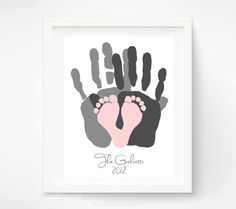 Gift for New Dad - First Father's Day Gift - Baby Footprint and Hand Print Art Print - Personalized Family Portrait - Baby Footprint Art