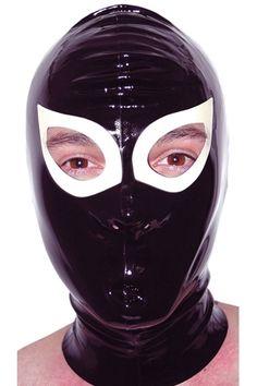 Cagoule en latex avec 2 trous pour les yeux et deux ouvertures pour le nez. Un produit exclusif