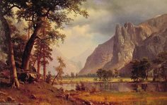 'Yosemite Valley', öl auf leinwand von Albert Bierstadt (1830-1902, Germany)