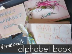 Help kids make their very own homemade alphabet book! Kids love to look at things they are familiar with and will love learning the ABC's with their own pictures! #teachmama #alphabet #alphabetbook #diy #kidscraft #preschool #learningactivities