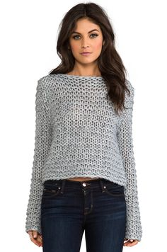 """Cheap Monday Cher Sweater in Grey Melange  Modeled in size S. Model Measurements: Height 5'9"""", Waist 24"""", Bust 32"""", Hips 34""""  60% acrylic , 15% alpaca , 10% polyamide , 5% spandex"""