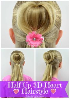 Half-Up 3D Heart Hairstyle | Valentine's Day Hairstyle  | Babes In Hairland