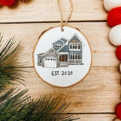 Custom House Wood Slice Ornament Hand Painted Home Art Our | Etsy Hand Painted Ornaments, Wood Slices, How To Make Ornaments, Little Houses, First Home, Custom Wood, Twine, Home Art, Custom Homes