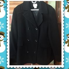 Black Peacoat Black wool Peacoat 2 front pockets double breasted look. Worn handful of times Jackets & Coats Pea Coats