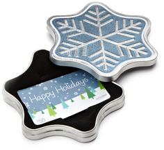 Gift Card in a Snowflake Tin (Happy Holidays Card Design)  Amazon.com Ships from and sold by ACI Gift Cards Inc., an Amazon company. Gift-wrap available. Gift Card is nested inside a specialty gift box Gift Card has no fees and no expiration date No returns and no refunds on Gift Cards Gift Card is redeemable towards millions of items storewide at Amazon.com Scan and redeem any Gift Card with a mobile or tablet device via the Amazon App Free One-Day Shipping (where available)