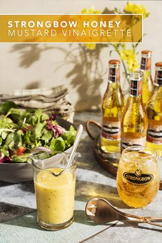 This simple & easy Strongbow Honey Hard Cider vinaigrette recipe was made for fresh summer greens. Our honey mustard salad dressing is vegan, dairy free, gluten free and the perfect side to your BBQ, picnic or a simple lunch outdoors. And for an extra boost of honey flavor, pair it with a chilled Strongbow Honey  over ice.