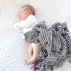Gender neutral swaddle blanket in classic black and white stripes.  Organic Cotton Muslin Swaddle Blanket - STRIPES