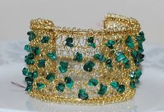Hand Crocheted Wire Cuff Beaded Wire Cuff by MyasCreations on Etsy, $65.99
