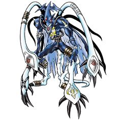 MarineDevimon - Ultimate level Aquatic Beast Man/Sea Animal digimon;  It is an aquatic dirty fighter that even Devimon hates to fight, it completely lacks all emotions but hatred due to its lonely life in the profound ocean depths. The two big tentacles growing from its back appear large and special, but they each possess their own will, so they will struggle for the catch and act without permission.