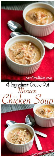 No time for cooking? Try this easy low carb high fat crock pot Mexican chicken soup recipe. It's made with only 4 ingredients! A simple LCHF keto Atkins meal. #weightloss