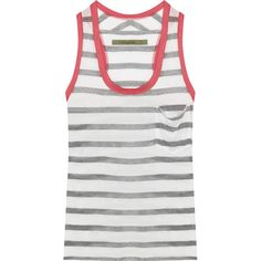 ENZA COSTA Striped modal-blend jersey tank (290 ILS) ❤ liked on Polyvore featuring tops, white, striped tank top, striped top, white racerback tank top, white top and racerback tank tops