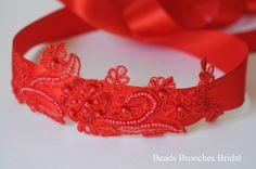 Red Wedding Sash Bridal Sash Red Flower by BeadsBroochesBridal
