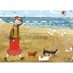 A fine art greeting card by painter Stephanie Lambourne, blank inside for your own message. Each card Quirky Art, Whimsical Art, Pretty Art, Cute Art, Seaside Pictures, Spring Art, Dachshund Love, Coastal Art, Naive Art
