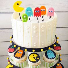 New Birthday Party Games Pac Man 20 Ideas 80s Birthday Parties, Birthday Party Treats, 80th Birthday, Birthday Cupcakes, 80s Party, Husband Birthday, Birthday Ideas, Bolo Pac Man, Pac Man Cake