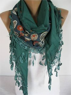Elegant  Scarf  Cowl with Lace Edge gift Ideas For by MebaDesign