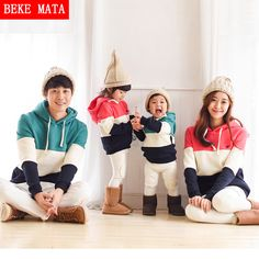 BEKE MATA Family Matching Outfits Winter 2016 Casual Matching Mother Daughter Clothing Family Look Father Son Hoodies Clothing