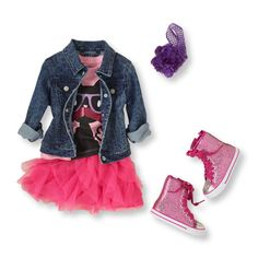 fun skirt, simple T, jean jacket and new grey/purple high tops