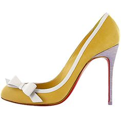Christian Louboutin Beauty 100 Leather Pumps Yellow Red Sole Shoes
