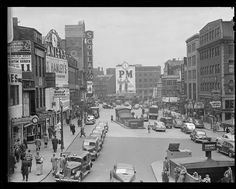 The above photo, shown in Streetcar Tracks and courtesy Boston Public Library, shows Scollay Square in the as a bustling commercial district, . Boston Pictures, Commercial Street, Boston Public Library, Boston Strong, Free Park, Urban Life, Old West, Urban Landscape, Vintage Photos