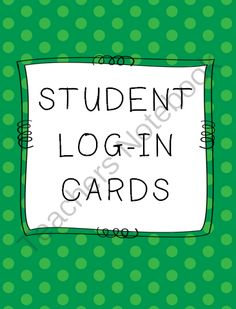 Student Log-in Cards from teaching crafty on TeachersNotebook.com -  (2 pages)  - Editable student computer login cards