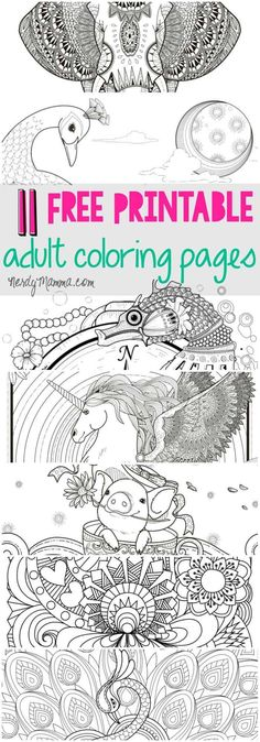 I love these free printable adult coloring pages. a page for every level of coloring skill. 11 free pages Coloring Pages For Grown Ups, Printable Adult Coloring Pages, Coloring Book Pages, Coloring For Kids, Coloring Sheets, Coloring Stuff, Free Printables, Creative, Illustration