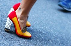 fendi color blocked studded brick heels | ss 2013