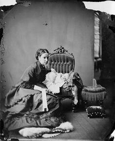 Lady Susan Agnes Macdonald, wife of Sir John A. Macdonald, with infant daughter Mary, Canada, June 1869