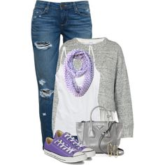 Converse ** by xandriah on Polyvore featuring polyvore, fashion, style, 10 Crosby Derek Lam, Aerie, Paige Denim, Converse, Prada, Michael Kors, PurpleShoes, rippedjeans and purplescarf